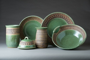 "Group Of ""Churchkeyed"" Stoneware Pottery Pieces"