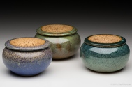 Three keepsake jars with church-keyed lids
