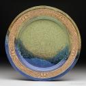Multi-glazed plate with church-keyed rim