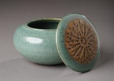 Sea Green Stoneware Keepsake Jar