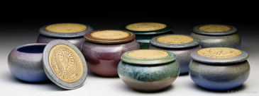 Church-keyed stoneware keepsake jars
