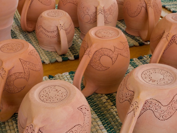 Bisque-Fired Pottery Drying